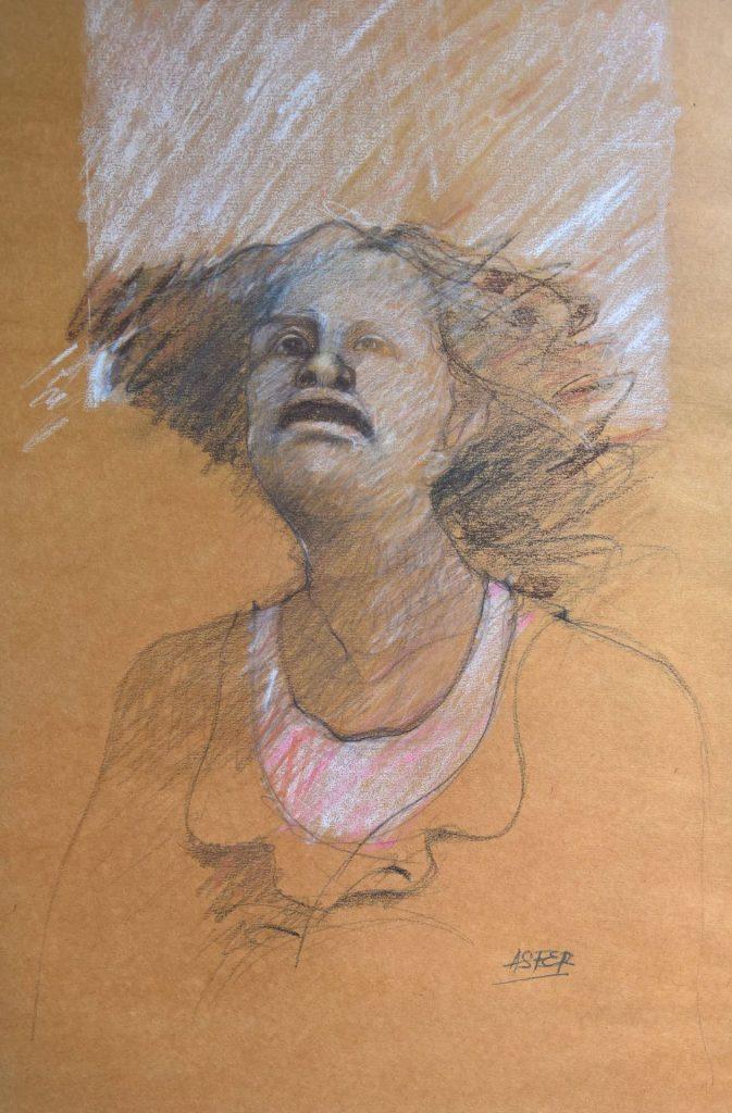 """""""Dolor"""" - Carbonilla y pastel -  Papel Craft marrón - 50x70cm"""