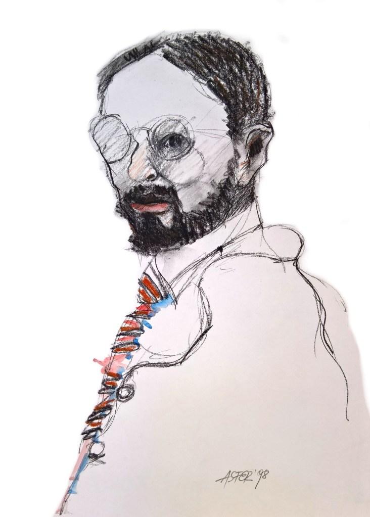Retrato de Henri - Grafito, acuarela y carbonilla - 50x70 cm - 1998