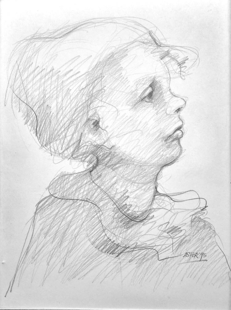 Perfil de niña - Grafito sobre Fabriano - 340x60cm - 1995