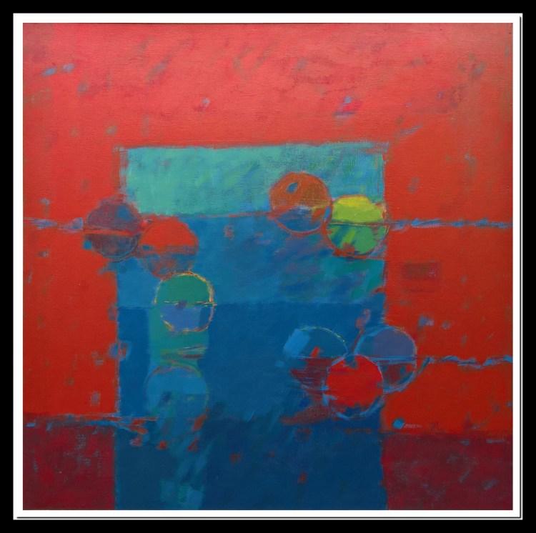 Frutas sobre paños amarillos - óleo - 100x100cm - 1984
