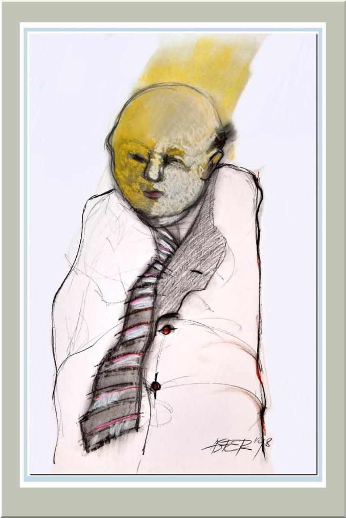 Hombre con corbata - carbonilla y tiza pastel - 1998